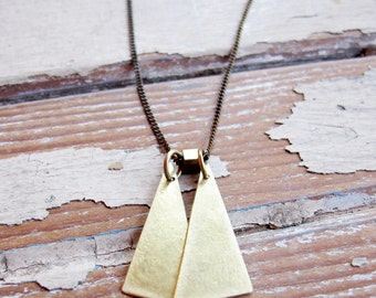 Float - Hand crafted Brass Triangle Necklace - Artisan Tangleweeds Jewelry
