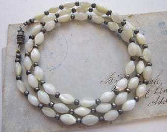vintage necklace - MOP with silver tone spacer beads - 24 inches