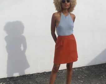 Burnt Orange A Line Mini Skirt