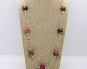 Pink and Gray Rhodonite Necklace