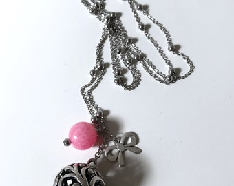 Harmony ball necklace, Angel Caller, Mexican Ball, Mexican bola, pink ribbon