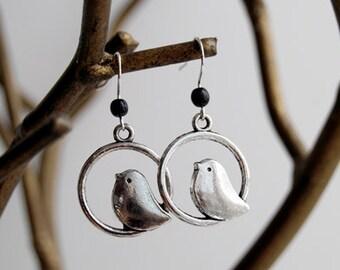 Sweetly Minimal Silver Bird Earrings | Cute Bird Charm Earrings | SALE