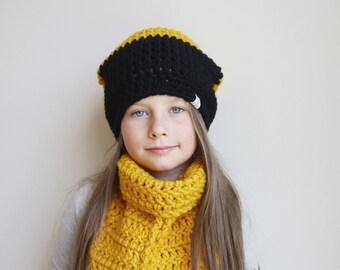 Crochet Hat / Crochet Scarf / Slouchy Beanie / Kids Hats / Toddler Girl Hat / Crochet Hat / toddler scarf / Crochet Girls Hat / Knit hat