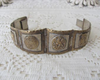 Vintage Sterling Silver Bracelet  Mexican Silver Panel Bracelet Taxco Mexico