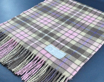 """Lambswool Scarf Pure Wool Scarf Plaid Pattern Pink Creme Made in Italy Wool Scarf 54"""" X 12.5"""