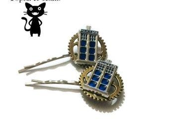 Steampunk bobby pins, hair clip, tardis, cogs, gothic