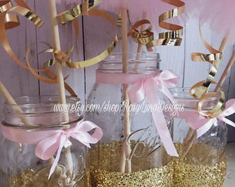 Pink and gold birthday party decor, mason jar set, pink and gold wedding decor, baby shower centerpiece, home decor,  desk decor