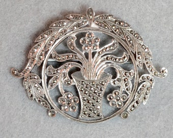 Sterling Silver and Marcasite Floral Brooch Vintage