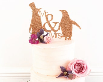Mr And Mrs Penguin Wedding Cake Topper Standard Size-wedding cake decoration-penguin themed wedding cake-wedding accessories-
