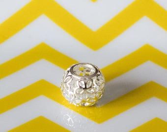 Pierced silver, 11 mm bead