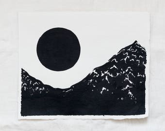 Mountains & Moon Original Landscape Ink Painting By Britt Fabello