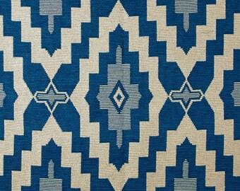Navajo Southwest Blue and Cream Medallion Geometric Pillow Covers / Designer Fabric / Handmade Custom Home Decor Accent Pillow