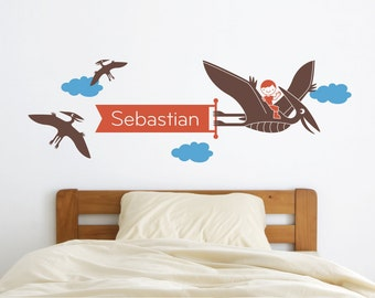 Dinosaur Name Wall Decal Pterodactyl Boy Personalized Banner Baby Nursery Wall Art Kids Dino Room Theme Decor