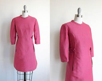 1960s vintage bright pink three quarter length jumper shift long sleeve dress L