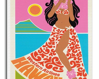 Hawaii Art Canvas Hawaiian Travel Poster Print Hanging Wall Decor xr626