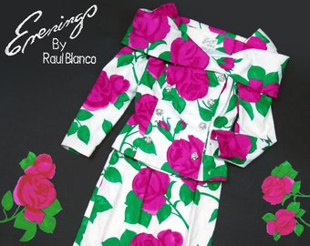 80s Evenings by Raul Blanco white and oversized pink floral print skirt suit - Off the Shoulder jacket - size XS/S