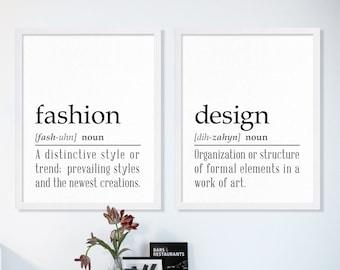 Fashion Art Gift for Fashionista Large Art Print College Poster Print Home Decor Modern Minimalist Art Fashion and Design School Typography