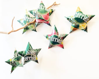 Perrier Sparkling Water Stars, Christmas Ornaments, Aluminum Can Upcycled, Lime, Strawberry, Apple, Watermelon, Orange