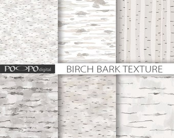 Birch bark digital paper wood background white wooden texture hand painted watercolor gray scrapbooking watercolour wedding forest woodland
