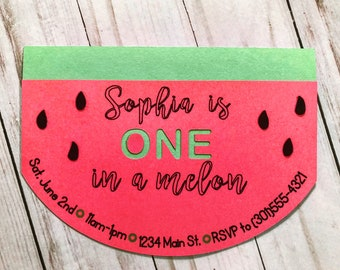 "CUSTOM Papercraft ""One in a Melon"" Invitations"