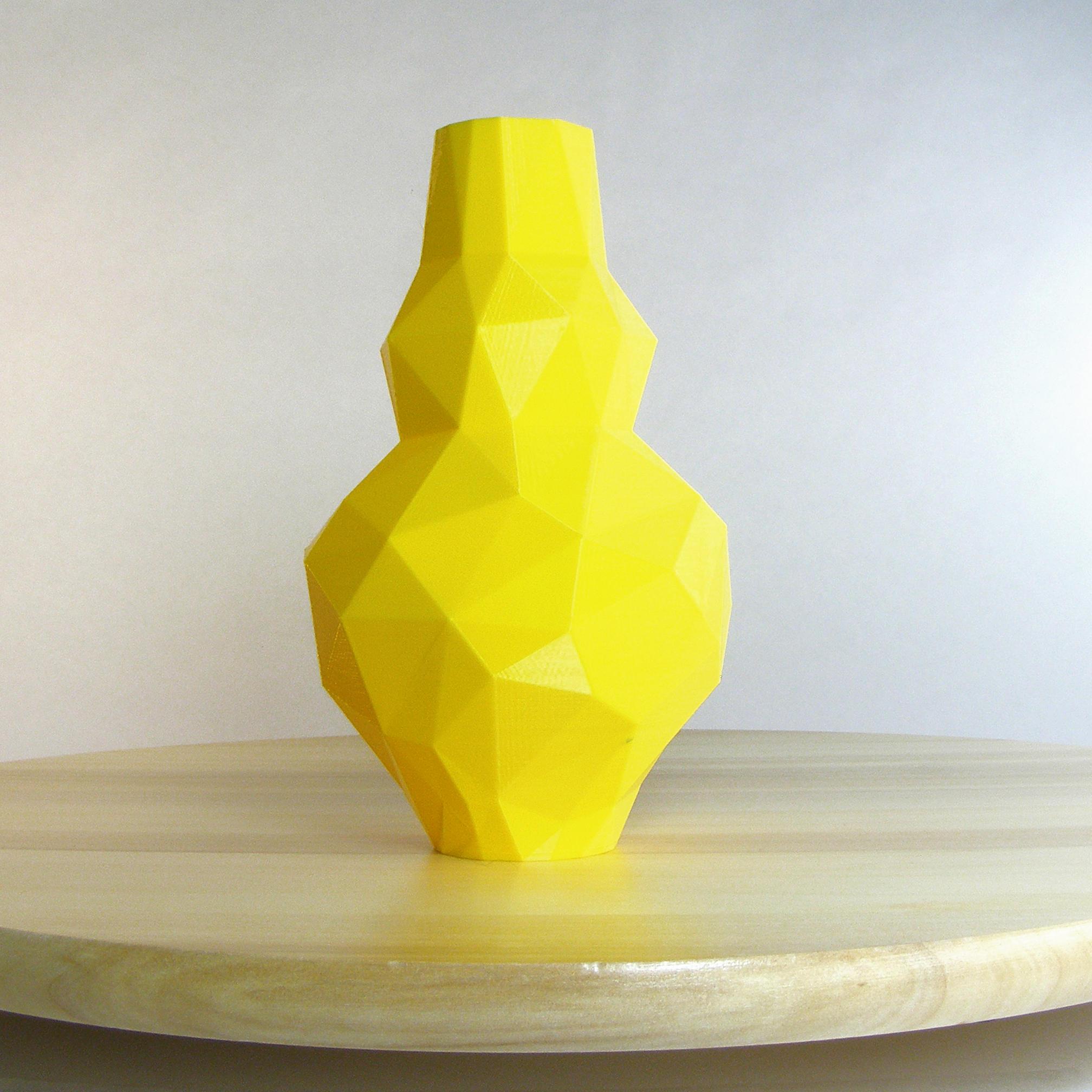 Lemon Yellow Vase 3D Printed Vase Low Poly Yellow Decor Yellow
