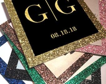 Medallion enclosure card. Favor tags, custom glitter tags, welcome bag tags, wedding invitation tags, Baptism tags, sparkle theme.