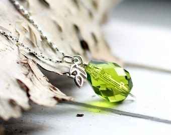 Green Glass Necklace, Pear Necklace, Olive Pear Drop Pendant, Sterling Silver Leaf Charm, Fruit Spring Nature Jewelry