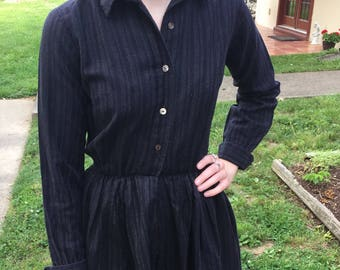 1950s vintage classic black on black stripe long sleeve shirtwaist dress