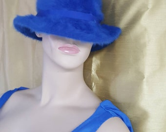 Blue cloche hat made in England by Kangol/ angora ladies hat/