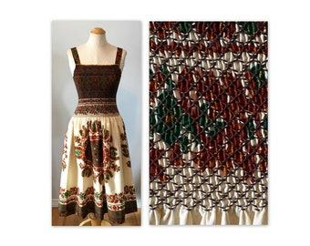 Vintage 60s Smocked Sun Dress XXS Stylized Thistle Flower Print
