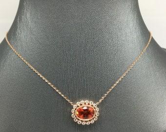 14K Rose Gold Natural Genuine Diamond and Orange Sapphire Bezel Halo Charm Necklace