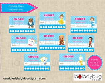 Chore reward cards princess. Printable chore punch cards for girls. Reward punch cards. Instant download. JPEG File, High resolution.