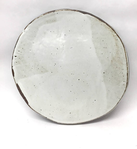 Speckled white plate // black stoneware