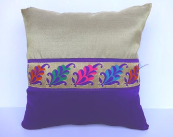 Gold and Purple pillow cover- Brocade decorative pillow -18 inch