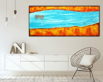 Blue Orange Abstract Painting on Canvas , Textured Art  , 55x23 inch !