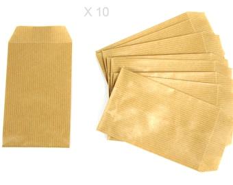 NATURAL 13 cm kraft paper gift pouches / 7 cm x 10 pieces