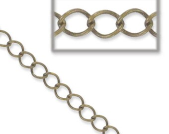 Bronze chain, curb chain. Link closed 4 mm-1 meter