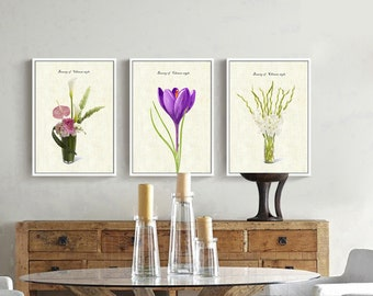 Three different kinds of flowers. wall decoration.room, home and business decor
