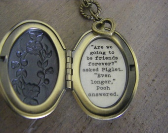 Friendship Locket Necklace Pooh Quote Are We Going To Be Friends Forever Brass Floral