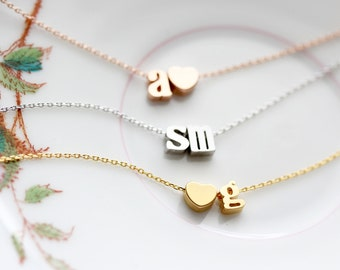 Double Initial Bracelet Lowercase - Gold Silver Rose Gold Initial Chain Custom Bridal Gift Personalized Bridesmaid Gift Wedding Lovers