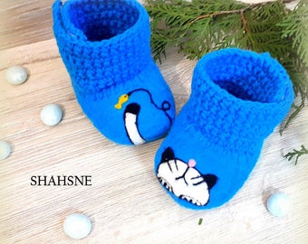 Kitten Infant Shoes Soft Sole Booties Pregnancy Announcement Vegan Crib Shoe Organic Grandparents Gift Gender Reveal Teal Merino Wool Felted