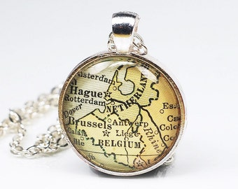 Belgium Map Necklace- Vintage Map Pendant Jewelry from Antique 1929 Atlas, Brussels Necklace, The Hague, Netherlands Necklace, Map Necklace