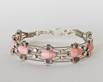 Handmade Paper Bead  & Guitar String Bracelet - Pink Lace
