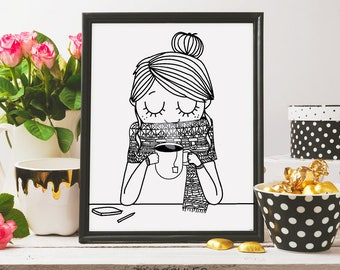coffee girl, coffee lovers, coffee print, printable art, coffee poster, coffee illustration, drinking coffee, coffee illustration, inkart
