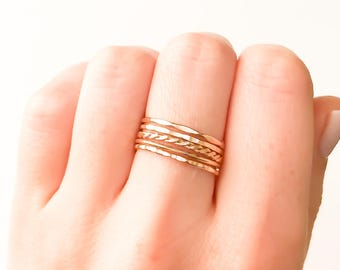 Gold Stack Rings, Thin Gold Stack Ring, Gold Filled Stacking Rings, Gold Ring, Dainty Rings, Minimalist Ring, Stackable Ring