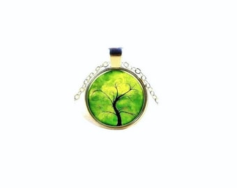 Tree Of Life Pendant , Silver  Glass Dome Pendant