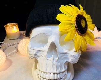 Black Sunflower Beanie with Gold Chains