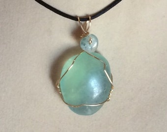 Fluorite Crystal Pendant Wire Wrapped Necklace Jewelry