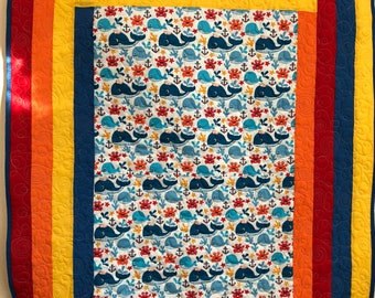 Baby boy whale primary color quilt handmade