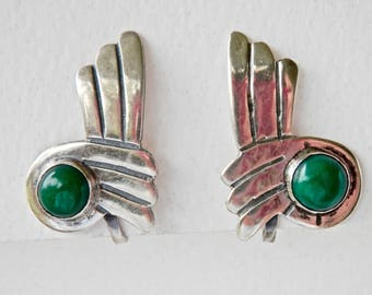 Vintage Mexican Silver Earrings Green Chrysoprase Modernist Silver Earrings William Spratling Design Mid Century Signed Plateria GIL 925